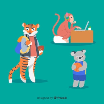 Pak geïllustreerde dieren op school