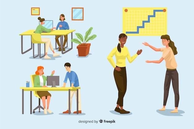 Pak geïllustreerde mensen die aan hun bureau werken