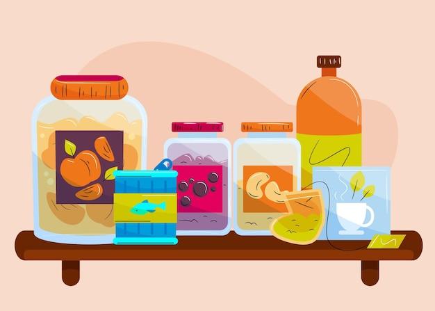Pak getekende pantry met verschillende soorten voedsel