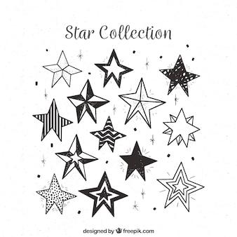 Pak hand getrokken decoratieve sterren