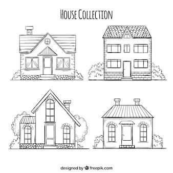 Pak hand getrokken huizen