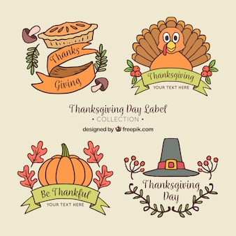 Pak hand getrokken thanksgiving stickers