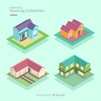 Pak isometrische huizen