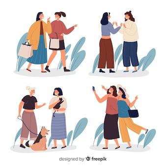 Pak jonge vrouwen die samen tijd doorbrengen