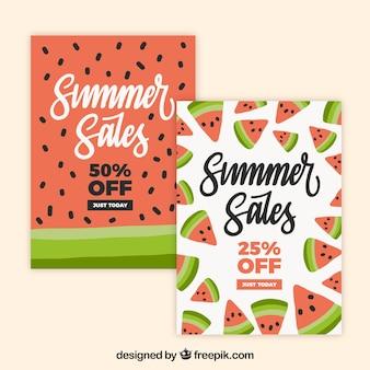 Pak kaarten voor de zomerverkoop met watermeloenen