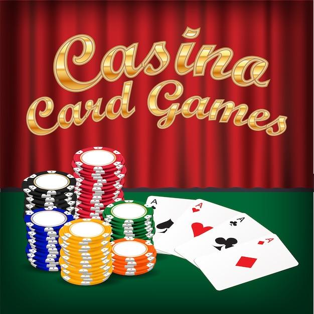 Pak kaartspellen met stapel van casinofiche