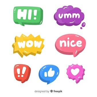 Pak kleurrijke tekstballonnen met verschillende uitdrukkingen