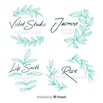 Pak logo's van de huwelijksbloemist