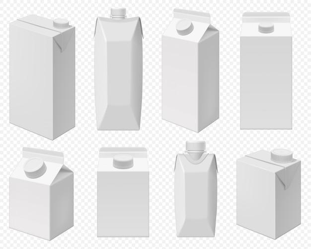 Pak melk en sap. realistisch geïsoleerd kartonpakket, witte doos voor zuivelproduct. blanco verpakkingen voor melk of sap