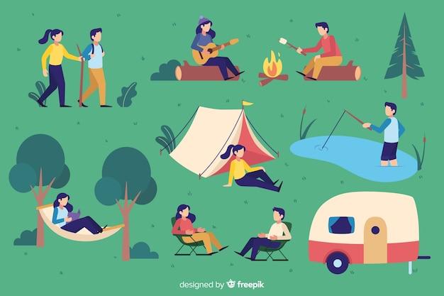 Pak mensen camping plat ontwerp
