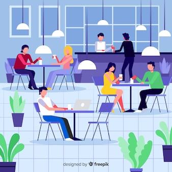 Pak mensen zitten in een café