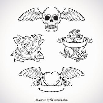 Pak met handgetekende tatoeages