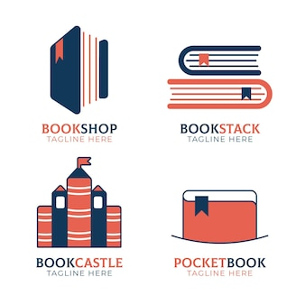 Pak met platte boeklogo-sjablonen