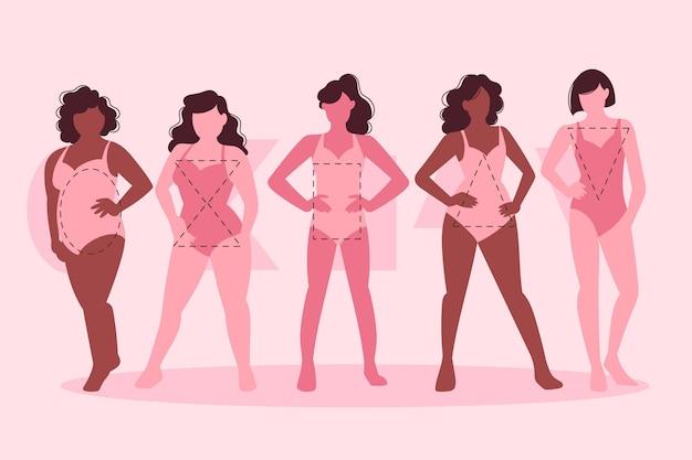 Pak met platte soorten vrouwelijke lichaamsvormen
