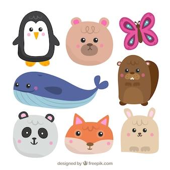Pak met verscheidenheid aan schattige dieren