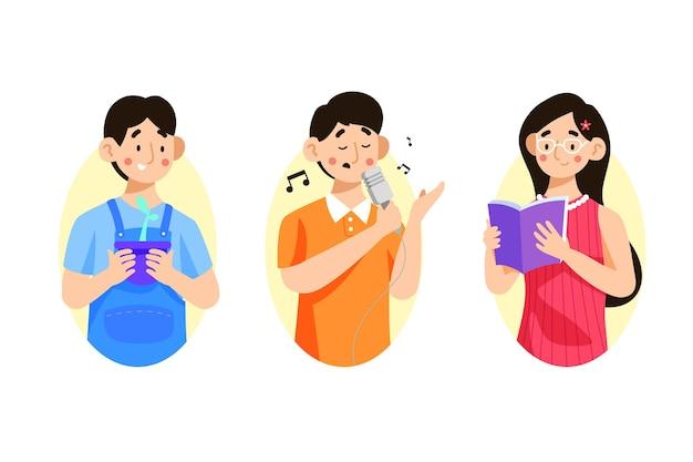 Pak moderne mensen die culturele activiteiten doen