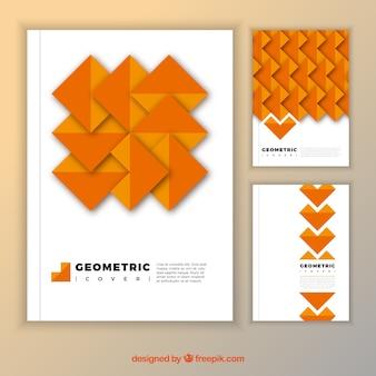 Pak oranje dekking met geometrische vormen