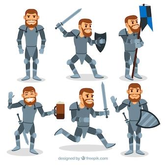 Pak ridder in verschillende houdingen