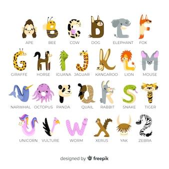 Pak schattige letters gemaakt van schattige dieren
