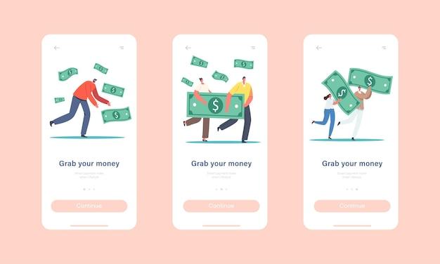 Pak uw money mobile app-pagina onboard-schermsjabloon. kleine karakters met enorme dollarbiljetten. bedrijfsgroei, rijkdom en welvaart, investeringen concept. cartoon mensen vectorillustratie