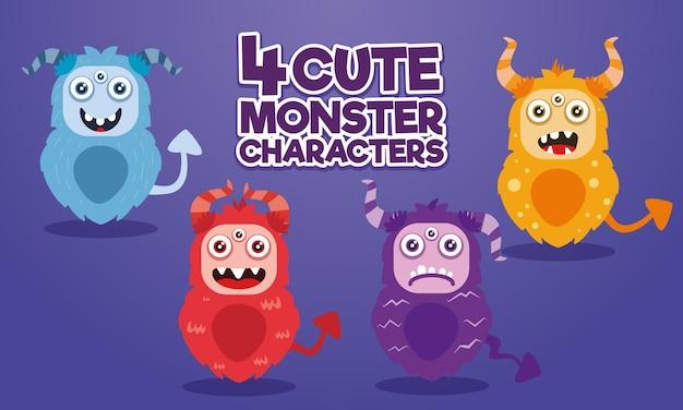 Pak van 4 schattige monsters