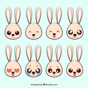 Pak van acht konijn emoticons