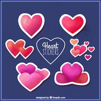 Pak van aquarel harten stickers