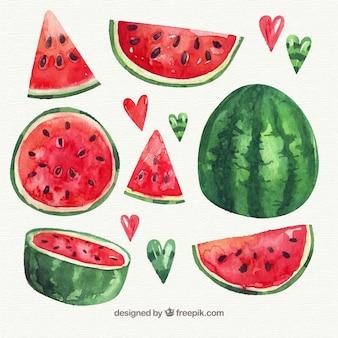 Pak van aquarel watermeloen met verscheidenheid van ontwerpen