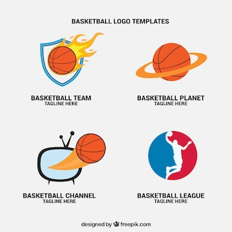 Pak van basketbal tv-kanaal logo's Premium Vector