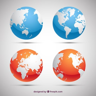 Pak van blauwe en oranje aarde globes