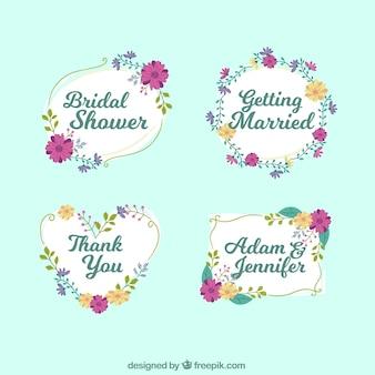 Pak van bruids douche frames met paarse en oranje bloemen