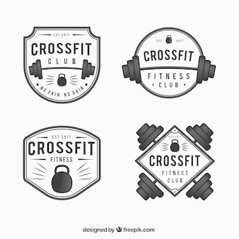 Pak van crossfit stickers in vintage stijl
