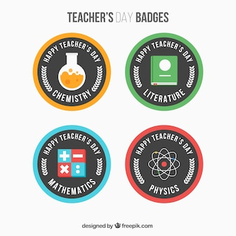 Pak van de dag round leraar badges