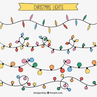 Pak van de hand getekend kerst lichtslingers