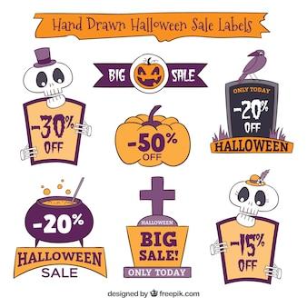 Pak van de hand getekende halloween verkoop stickers
