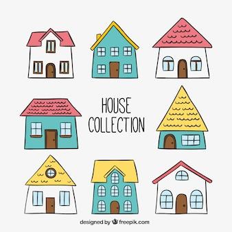 Pak van de hand getekende huizen