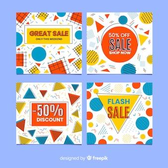 Pak van de kleurrijke stijl van memphis van de verkoopbanner