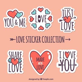Pak van de liefde stickers met rode en blauwe harten