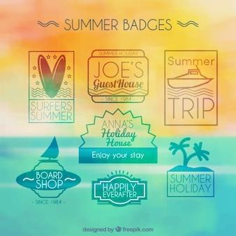 Pak van de moderne zomer badges