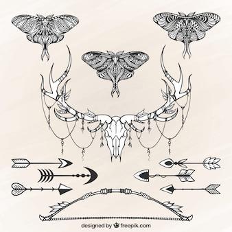 Pak van decoratieve elementen in de hand getekende stijl