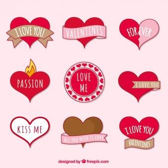 Pak van decoratieve platte stickers voorbereid voor valentijnsdag