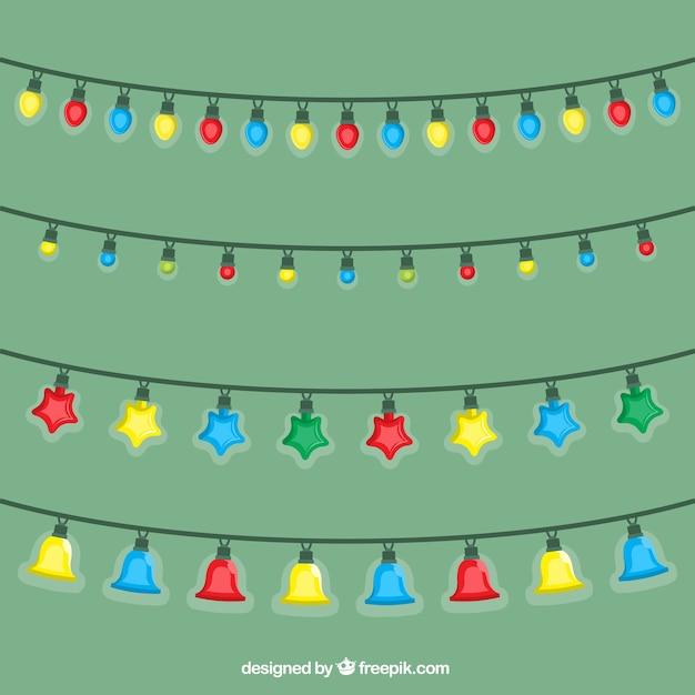 Pak van decoratieve verlichting met verschillende vormen voor kerstviering