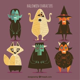 Pak van eigenaardige personages in vintage halloween ontwerp