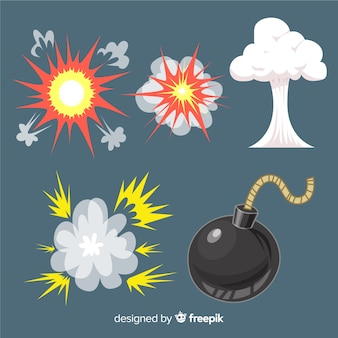 Pak van explosie effecten cartoon stijl