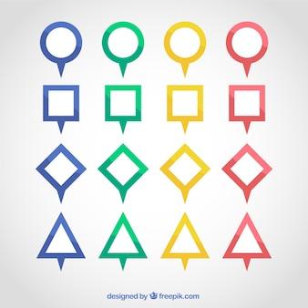 Pak van geometrische markers met verschillende kleuren