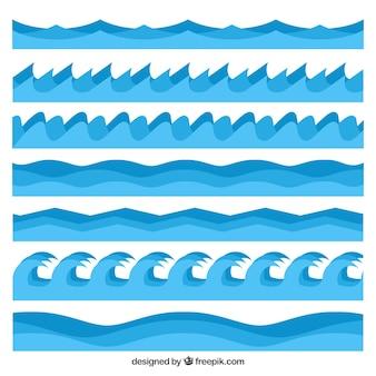 Pak van golven in verschillende stijlen