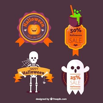 Pak van grappige halloween karakters in plat ontwerp