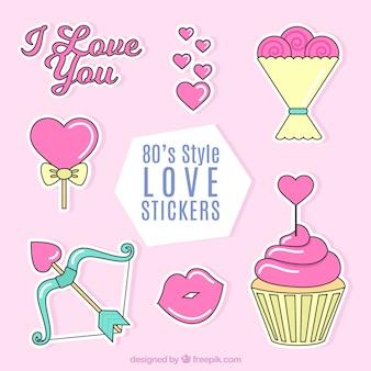 Pak van grote liefde stickers in plat design