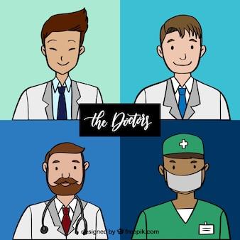 Pak van hand getekende smiley artsen