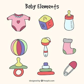 Pak van handgetekende babyelementen met verschillende kleuren